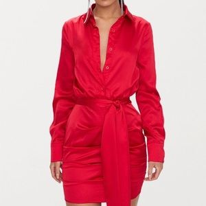 Red Ruched Shirt Dress